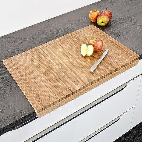 Piano Di Lavoro Per Cucina In Legno.Bakaji Tagliere Piano Di Lavoro In Legno Di Bambu Per Tagliare Tritare Verdura Carne E Alimenti Dimensione 56 X 38 Cm Colore Bamboo Naturale
