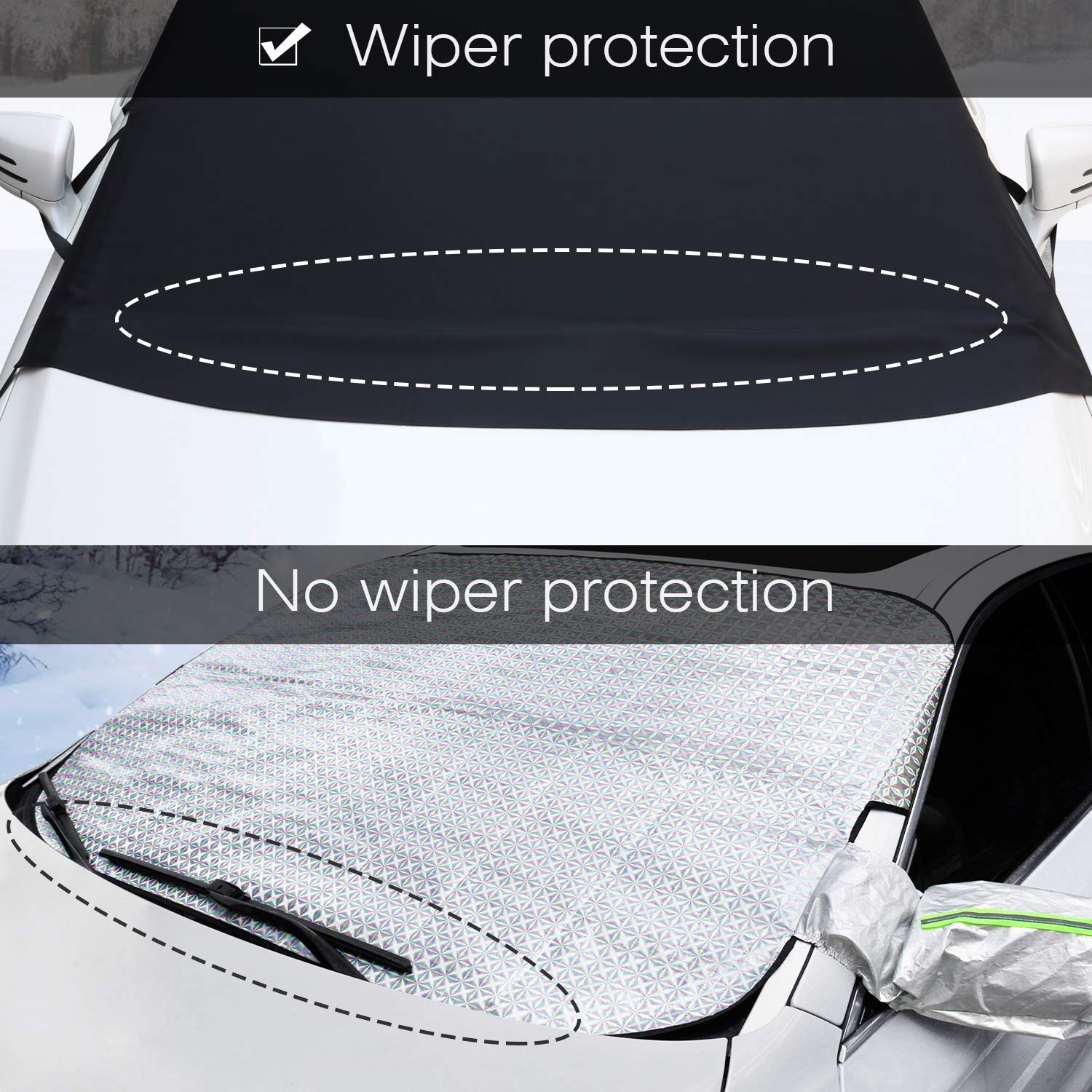Ice and Snow Defender Frost Guard Sun Shade Protector Waterproof Winter Windshield Cover for Most Cars Trucks SUV MPVs 600D Oxford Fabric with PVC Coating Kohree Car Windshield Snow Ice Cover