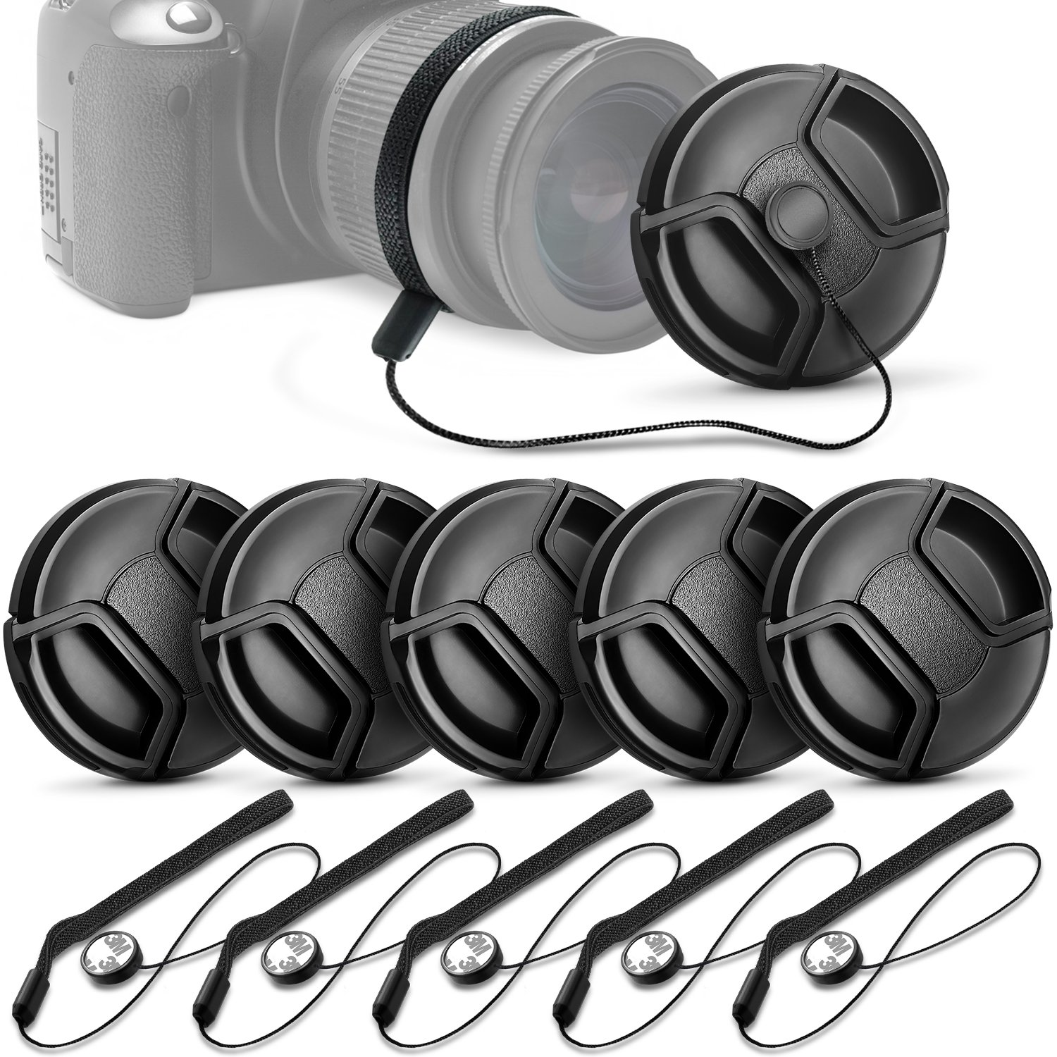 (10 Pcs Bundle) 5 Center Pinch Lens Cap (58mm) and 5 Cap Keeper Leash for Canon, Nikon, Sony and any other DSLR Camera Altura Photo QM0360