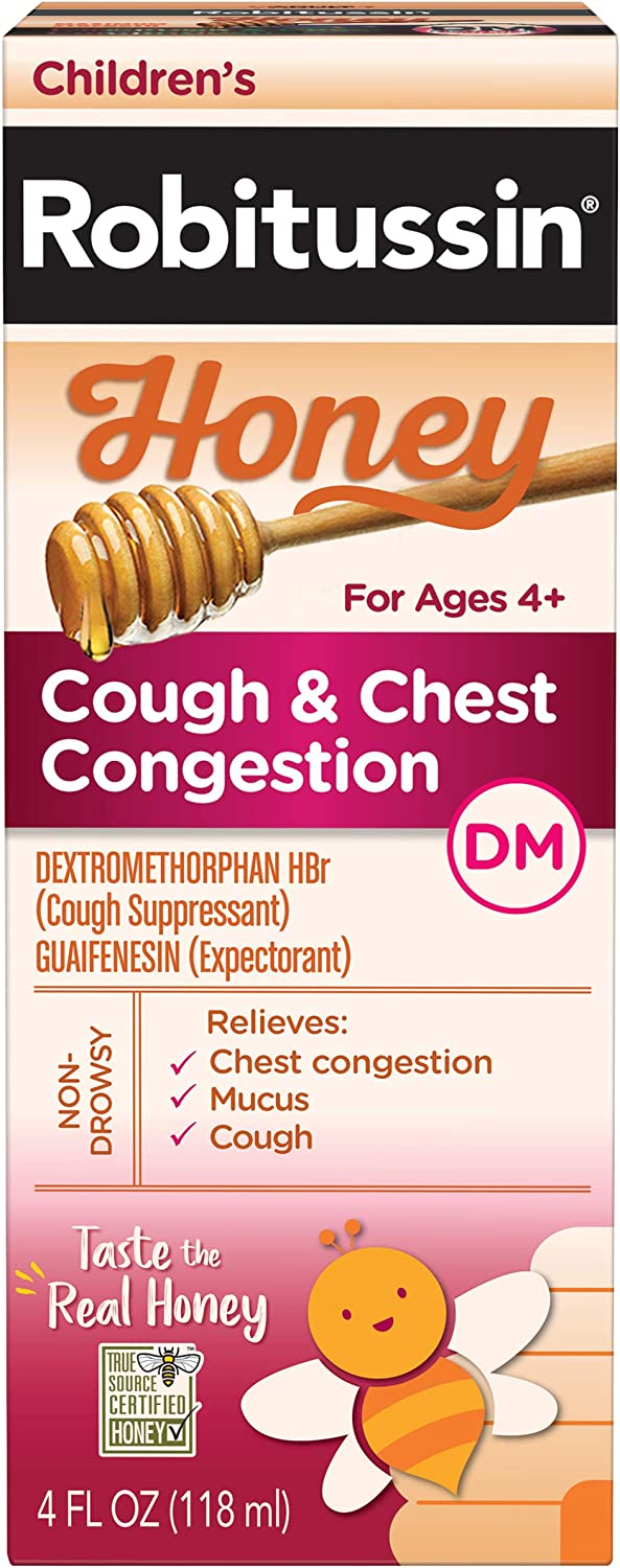 Children's Robitussin Honey Cough + Chest Congestion DM, Non-Drowsy Cough Suppressant & Expectorant