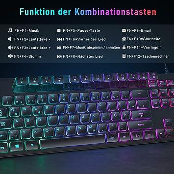 SEENDA Teclado con cable con iluminación RGB, teclado ...