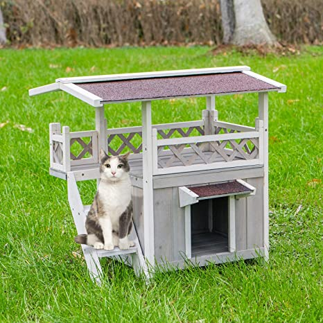 Scurrty Wooden Cat House 2 Story Outdoor Indoor Cat Condo With Raised Waterprrof Roof And Balcony Cat Condo House Small Animal Cage Cat House Pet Supplies