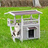 Scurrty Wooden Cat House 2 Story Outdoor Indoor Cat Condo with Raised Waterprrof Roof and Balcony Cat Condo House Small…