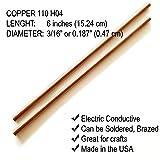 "Copper Rod 3/16"" (0.187"") Diameter - 6"" Long"