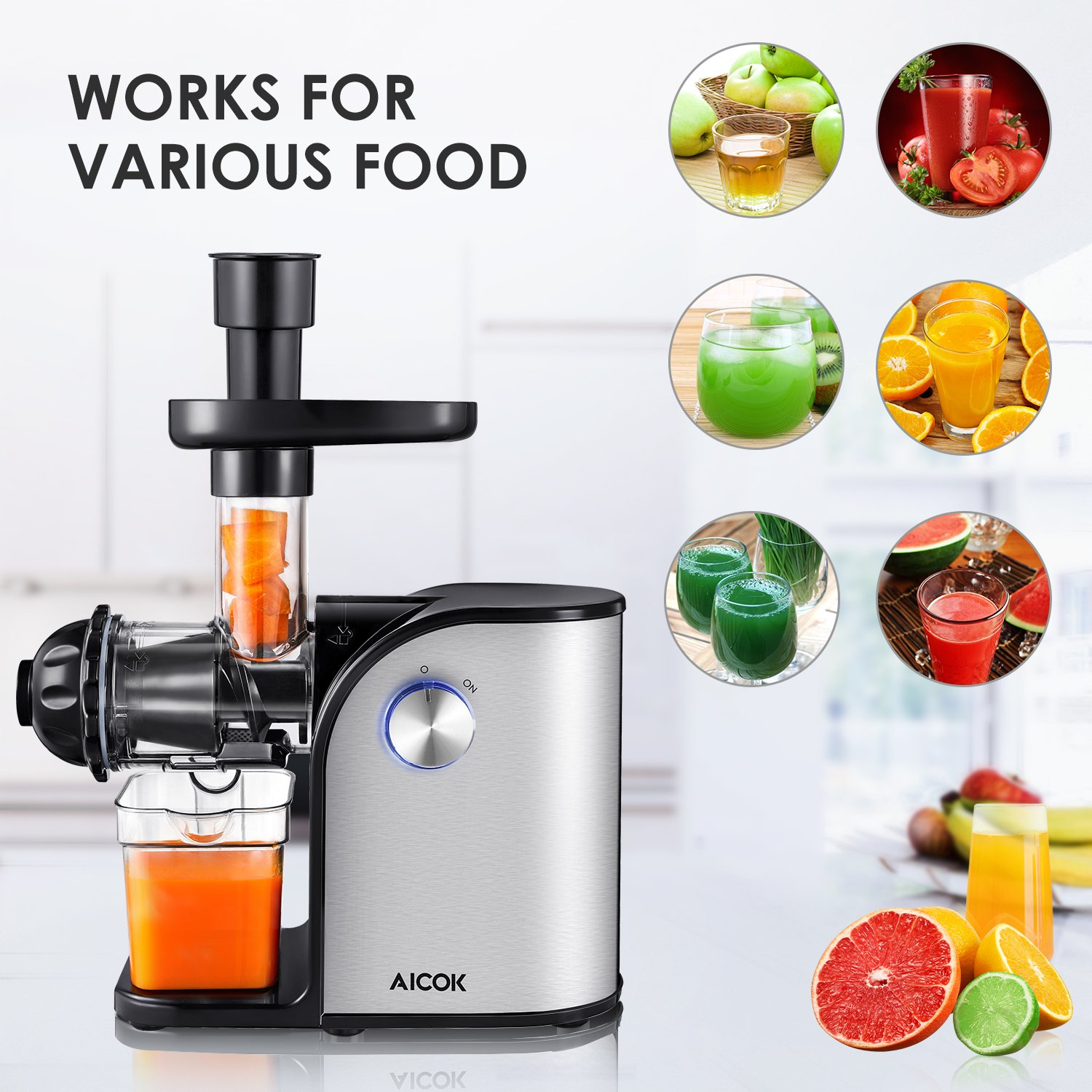 Aicok Slow Masticating juicer, Cold Press Juice Extractor, Stainless Steel, Quiet Motor, High Nutrient Fruit and Vegetable Juice, Black by AICOK (Image #2)