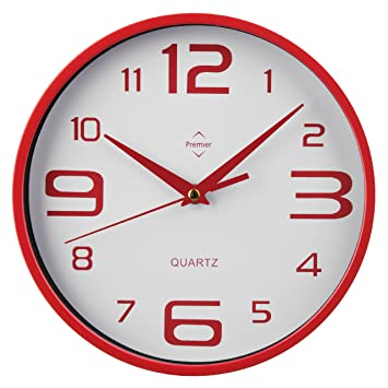 Premier Housewares 2200571 Horloge Murale Plastique Rouge/Blanc ...