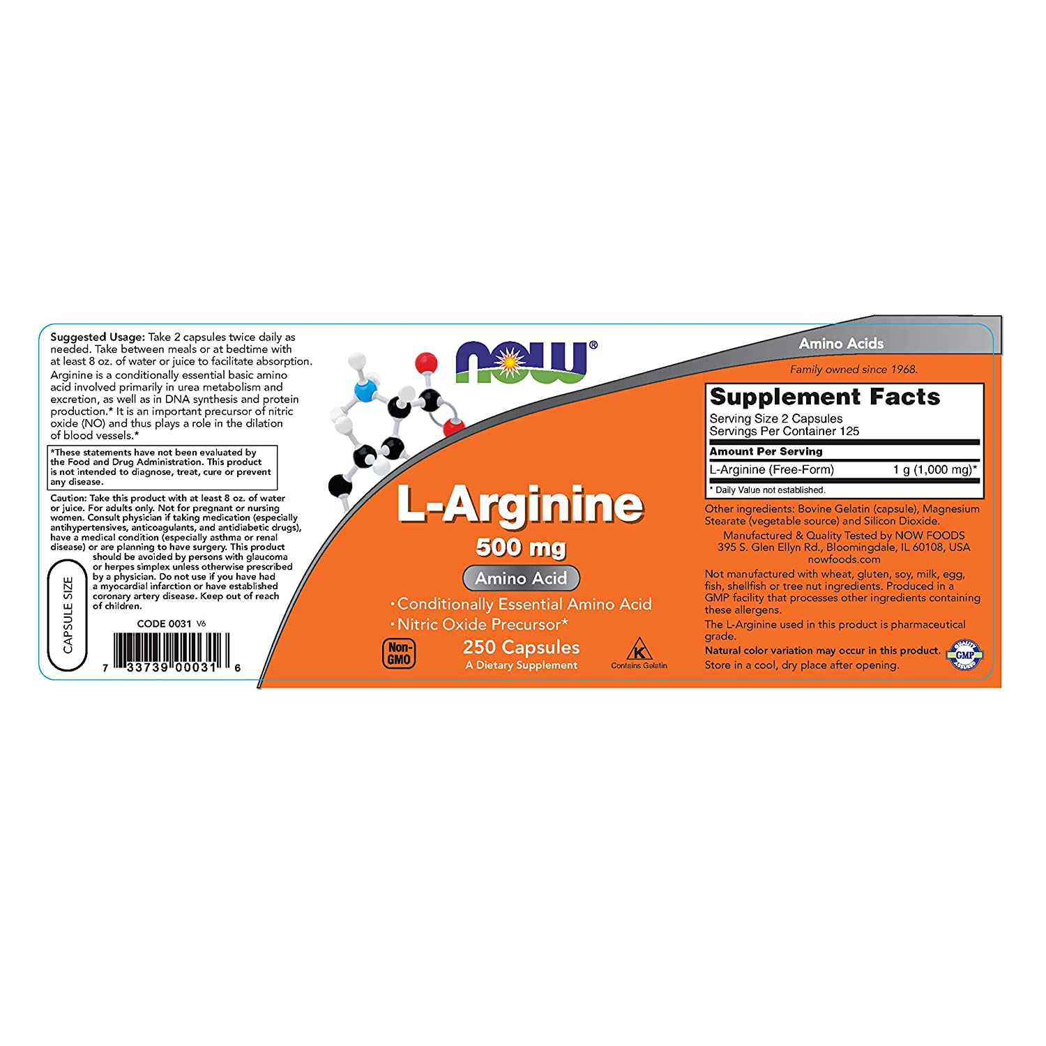 Now Foods L-Arginine 500mg – 250 ct Pack of 3