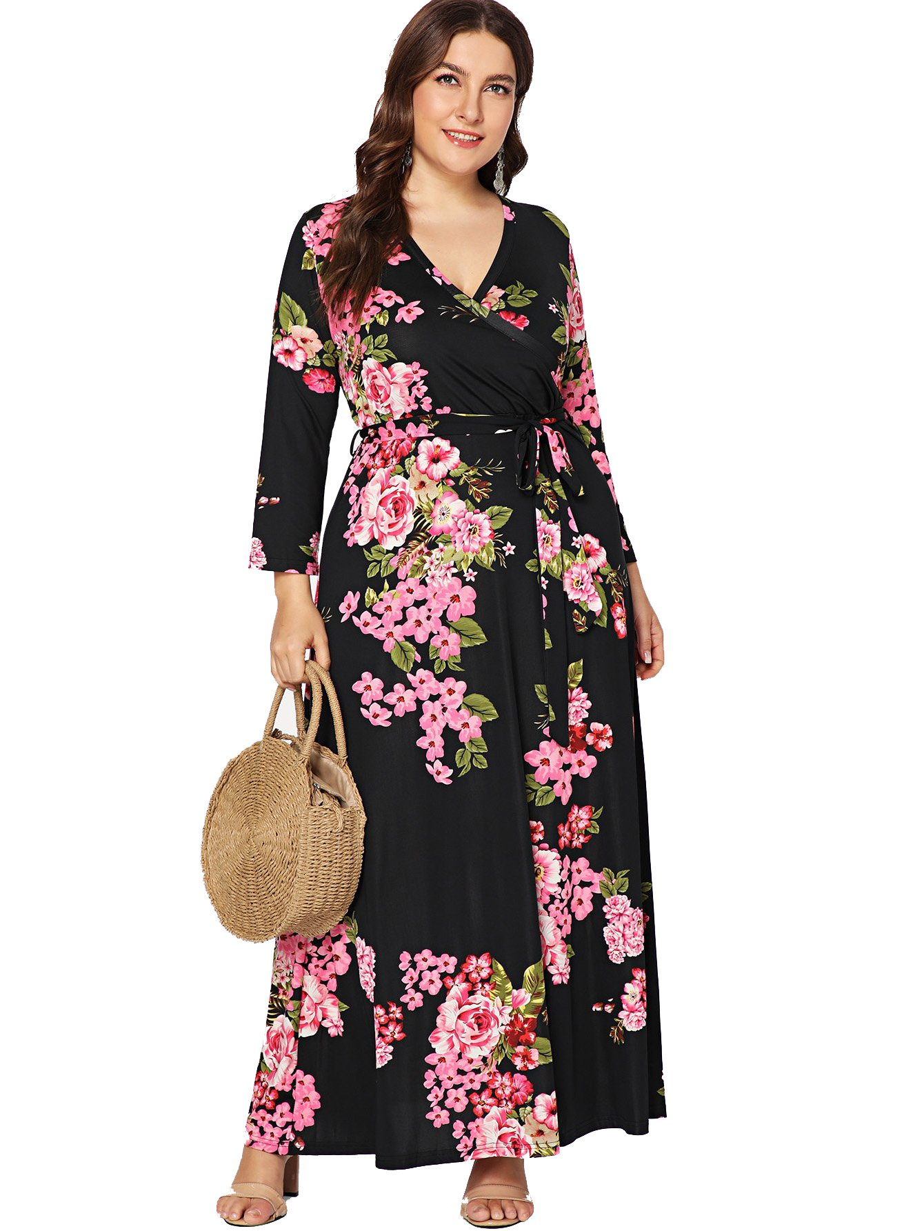 a17afc9039a Milumia Plus Size Summer Floral Printed Wrap V Neck Maxi Dress Party Black  Empire Waisted Dress