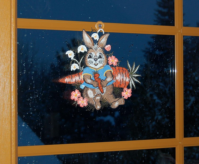 Entz/ückendes Fensterbild 25x23 cm Saugnapf Plauener Spitze Ostern Osterhase M/öhre Deko Spitzenbild