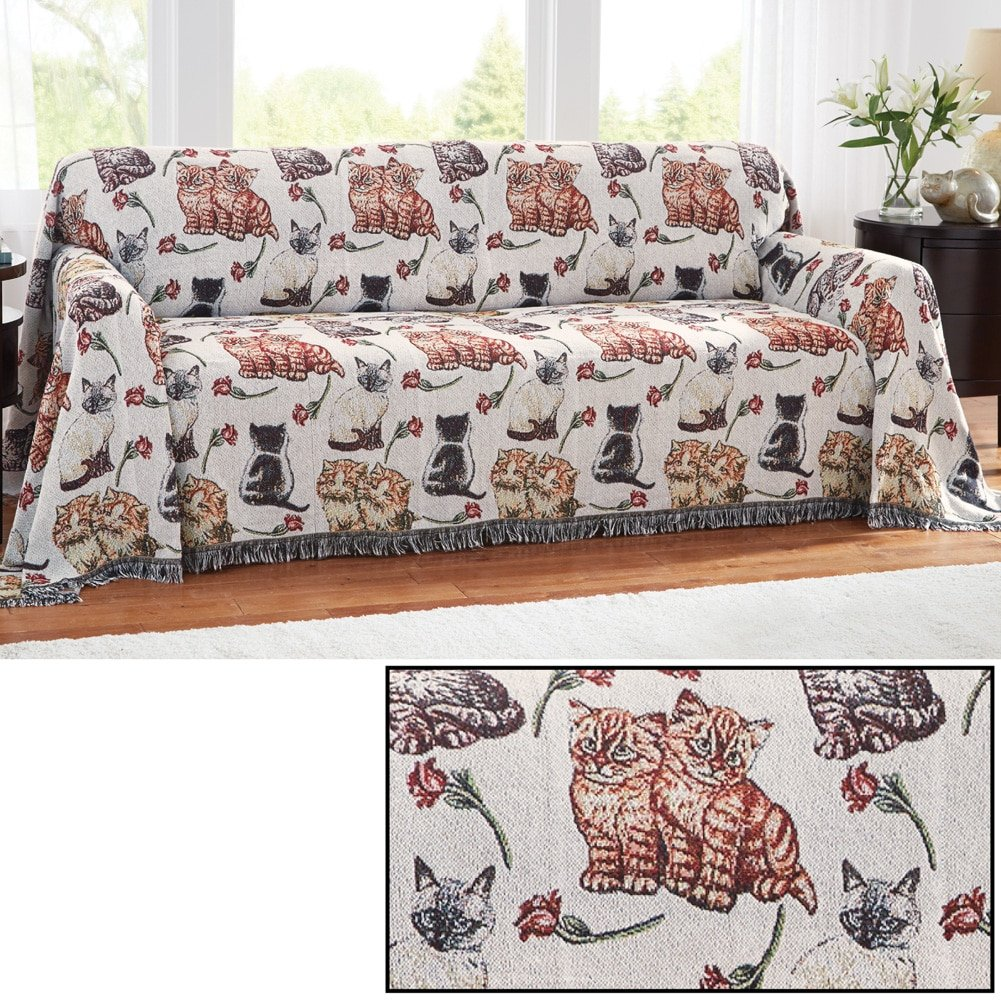 Cat tapiz sofá muebles cubierta, gatos, gatitos, poliéster y mezcla de poliéster.: Amazon.es: Hogar
