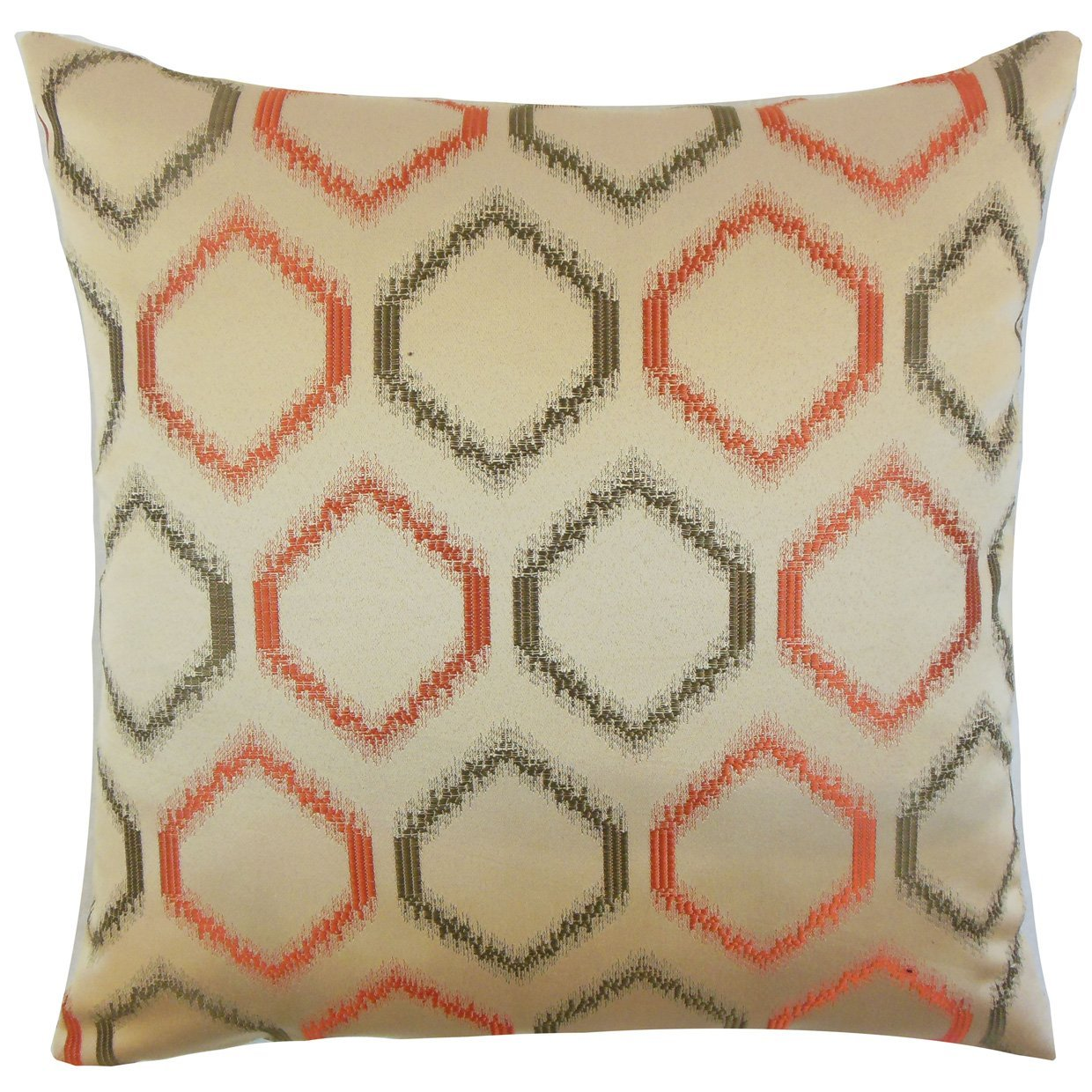 The Pillow Collection Connolly Geometric Bedding Sham Orange Queen/20' x 30'