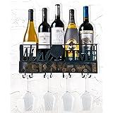 Ranita Home & Style- Rack Organizador de Vinos con Montaje en la Pared - Mueble para Vinos con Sujetador de Copas - Porta Cop