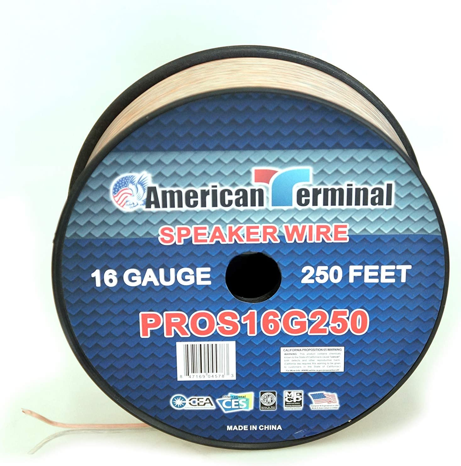 of 16 Gauge Pro Series Clear Speaker Wire American Terminal PROS16G250 250 ft