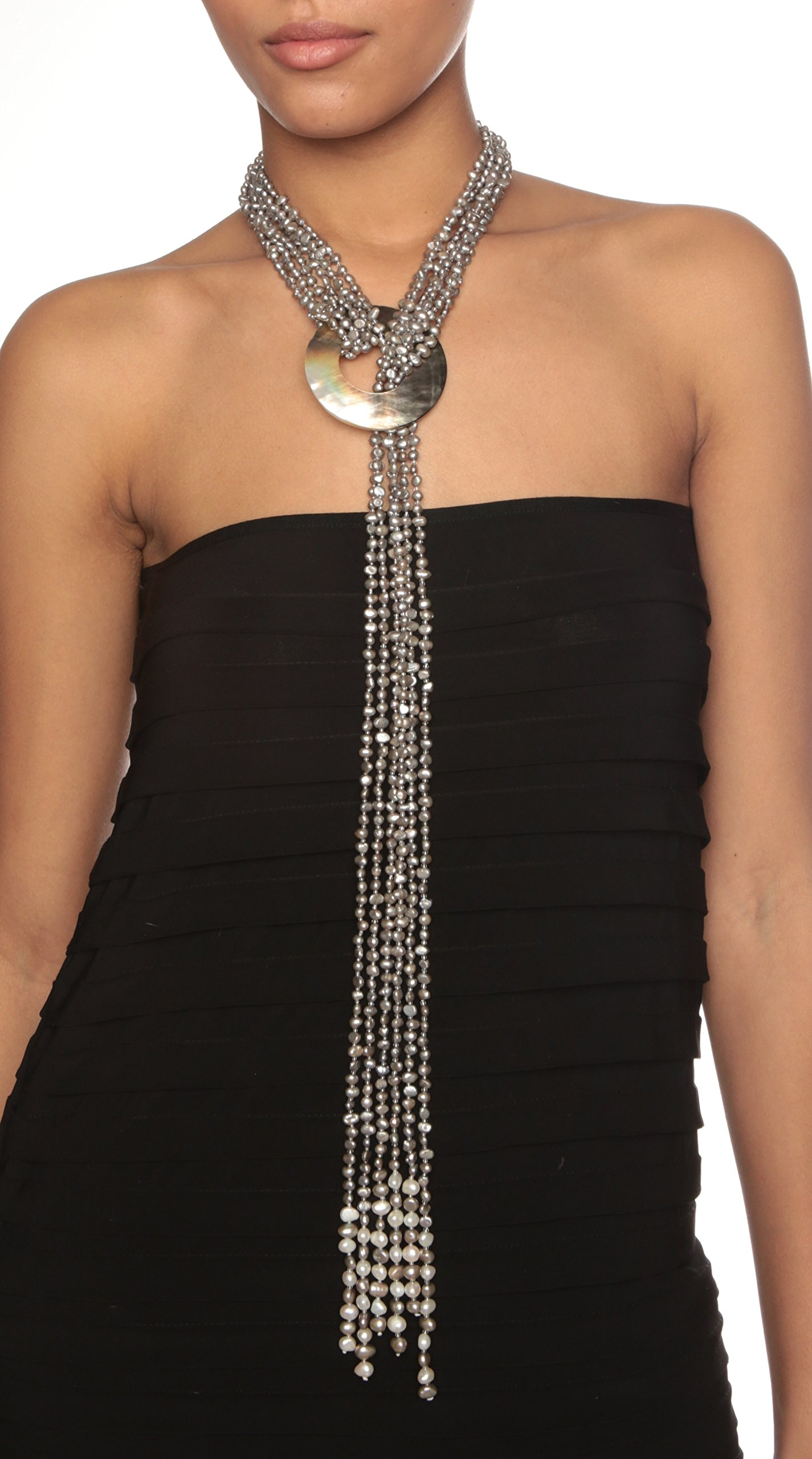 HinsonGayle 'Cleopatra' 6-Strand Silver Gray Cultured Freshwater Pearl & Shell Lariat Y Necklace-35 in length by HinsonGayle Fine Pearl Jewelry (Image #4)