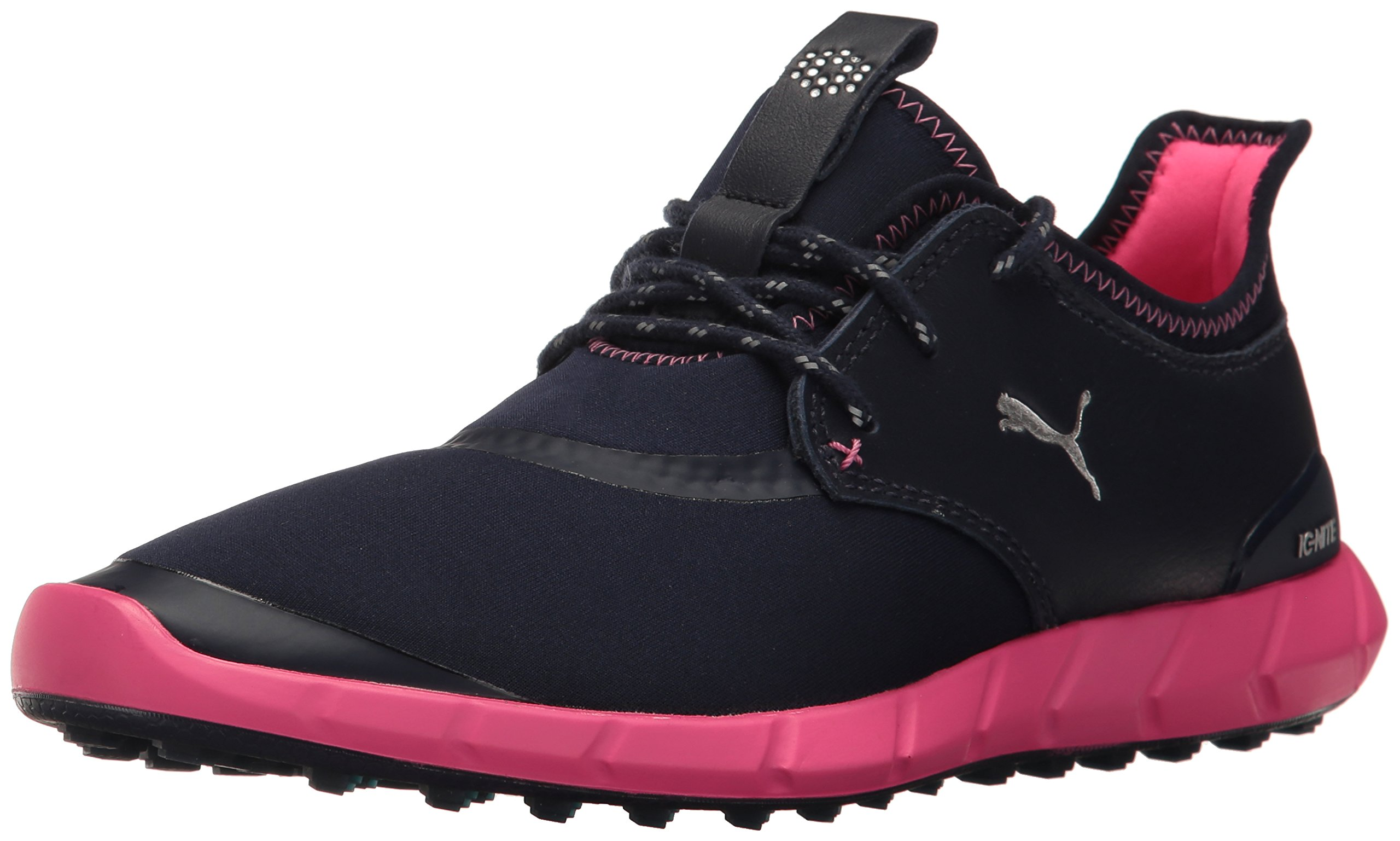 PUMA Women's Ignite Spikeless Sport WMNS Golf Shoe, Peacoat Silver-Knockout Pink, 7.5 Medium US