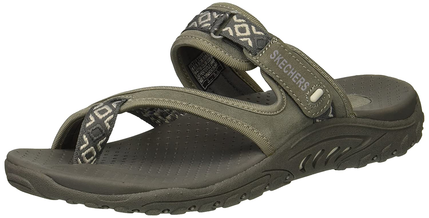 Skechers Women's Reggae-Trailway Slop Sandals Flip-Flop B0787H2LG7 8.5 B(M) US|Gray