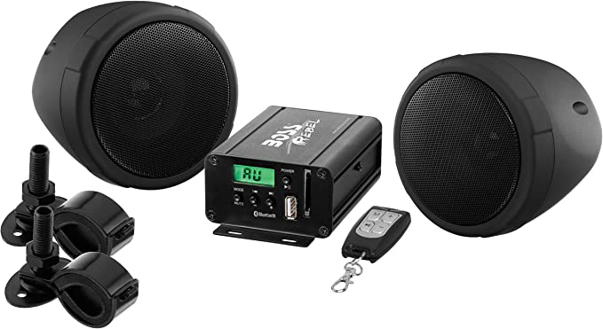 BOSS Audio Systems MCBK10B Motorcycle Speaker and Amplifier Sound System -  Bluetooth, Weatherproof, 10 inch Speakers,