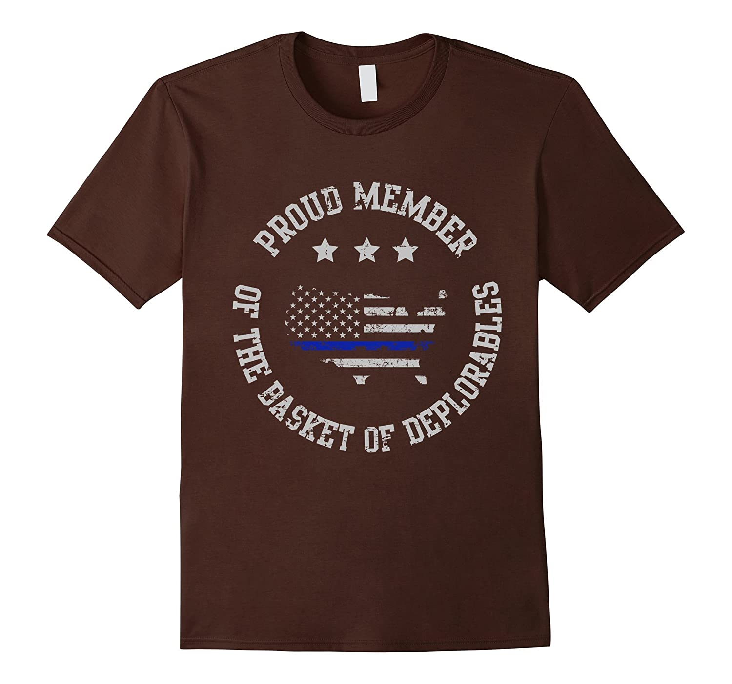 Deplorable Trump Distressed Thin Blue Line Flag T-shirt-RT