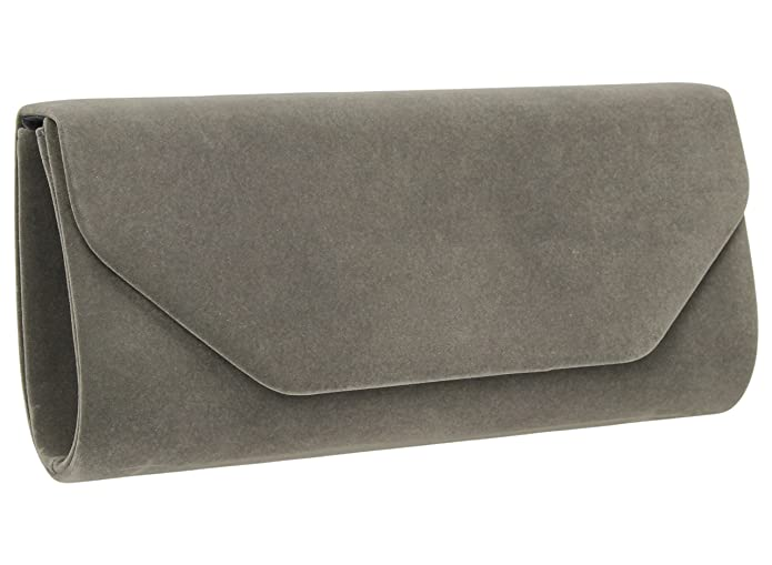 6fa209b7504f Isabella Velvet Womens Half Envelope Style Clutch Bag in Grey   Amazon.co.uk  Shoes   Bags
