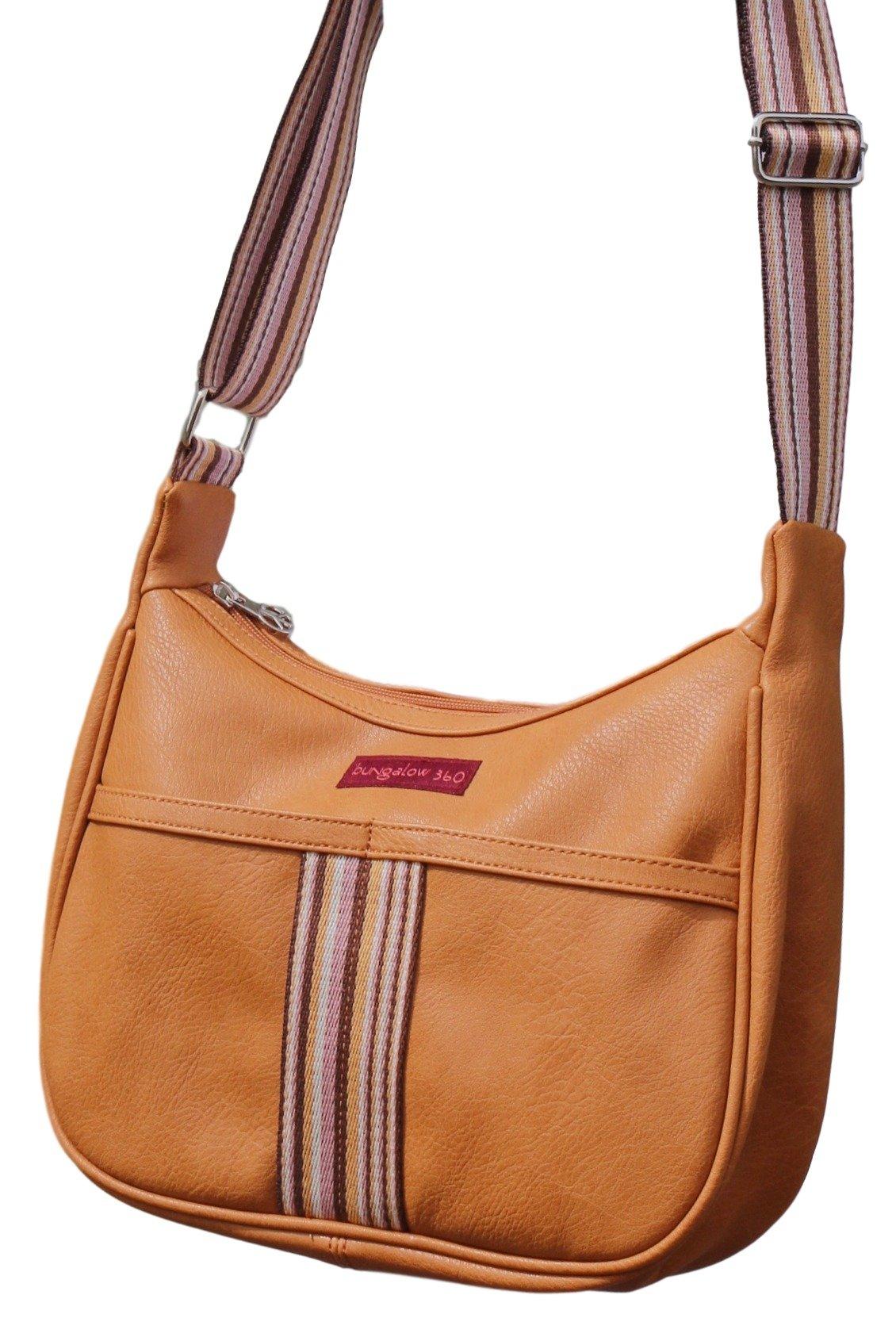 Bungalow 360 Original Vegan Leather Striped Hobo Bag (Curry)