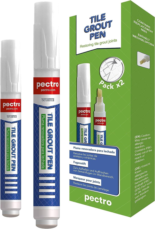 Rotulador de lechada blanco para juntas de azulejos Tile grout pen PACK x 2 unidades 8ml | Blanqueador de juntas anti moho | Restaura las juntas de baños y cocinas