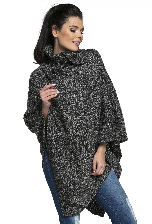 Happy Mama Womens Maternity Nursing Chunky Knit Poncho Sweater Jumper 492p (Black Melange, One Size US 4/6/8, S/M)