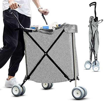ad1955e01bf8 Freshore Grocery Shopping Cart with Wheels - Collapsible Push Folding  Utility Wagon Trolley 丨 Laundry Trolley Carrier with Heavy Duty Flexible  Fashion ...