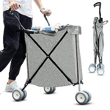 Freshore® Carrito de la Compra con Ruedas - Carro Plegable de Servicio Plegable y de Empuje 丨 Portaequipajes de lavandería con diseño de Moda Flexible y ...