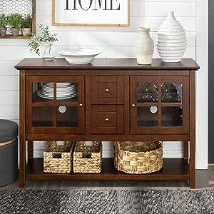 WE Furniture AZ52C4CTWT Wood Console Table, Walnut