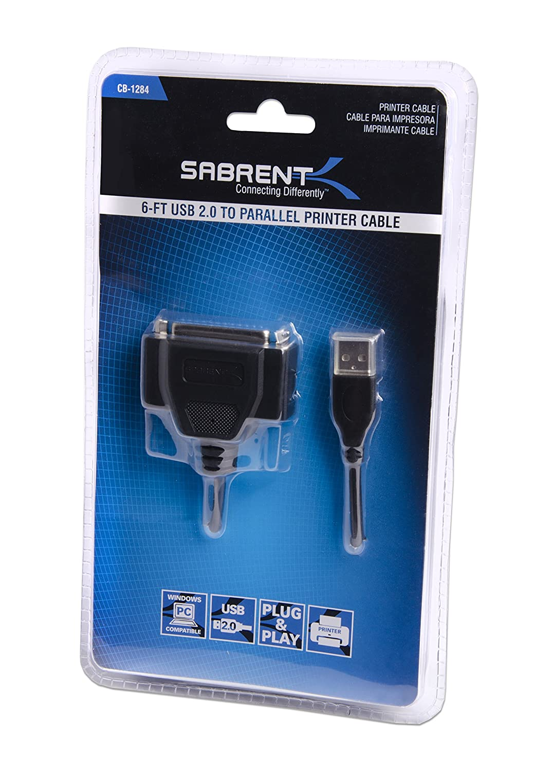 Sabrent USB 2.0 to DB25 IEEE-1284 Parallel Printer Cable Adapter CB-1284 HEXNUT Connectors