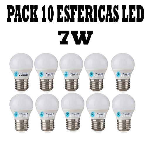 Pack de 10 bombillas Led esféricas 7W E27 (Rosca grande), 3000K (Lúz