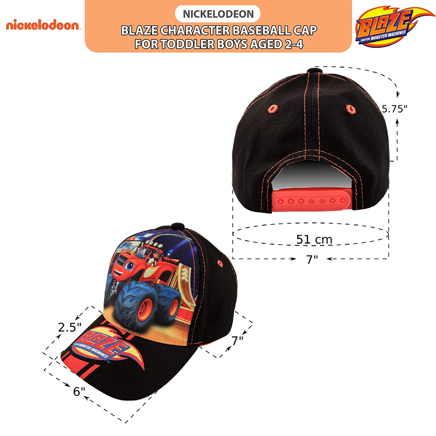 online store b379a 93275 Amazon.com  Nickelodeon Toddler Boys Blaze and The Monster Machines Cotton  Baseball Cap, Age 2-4 Black, Red  Clothing