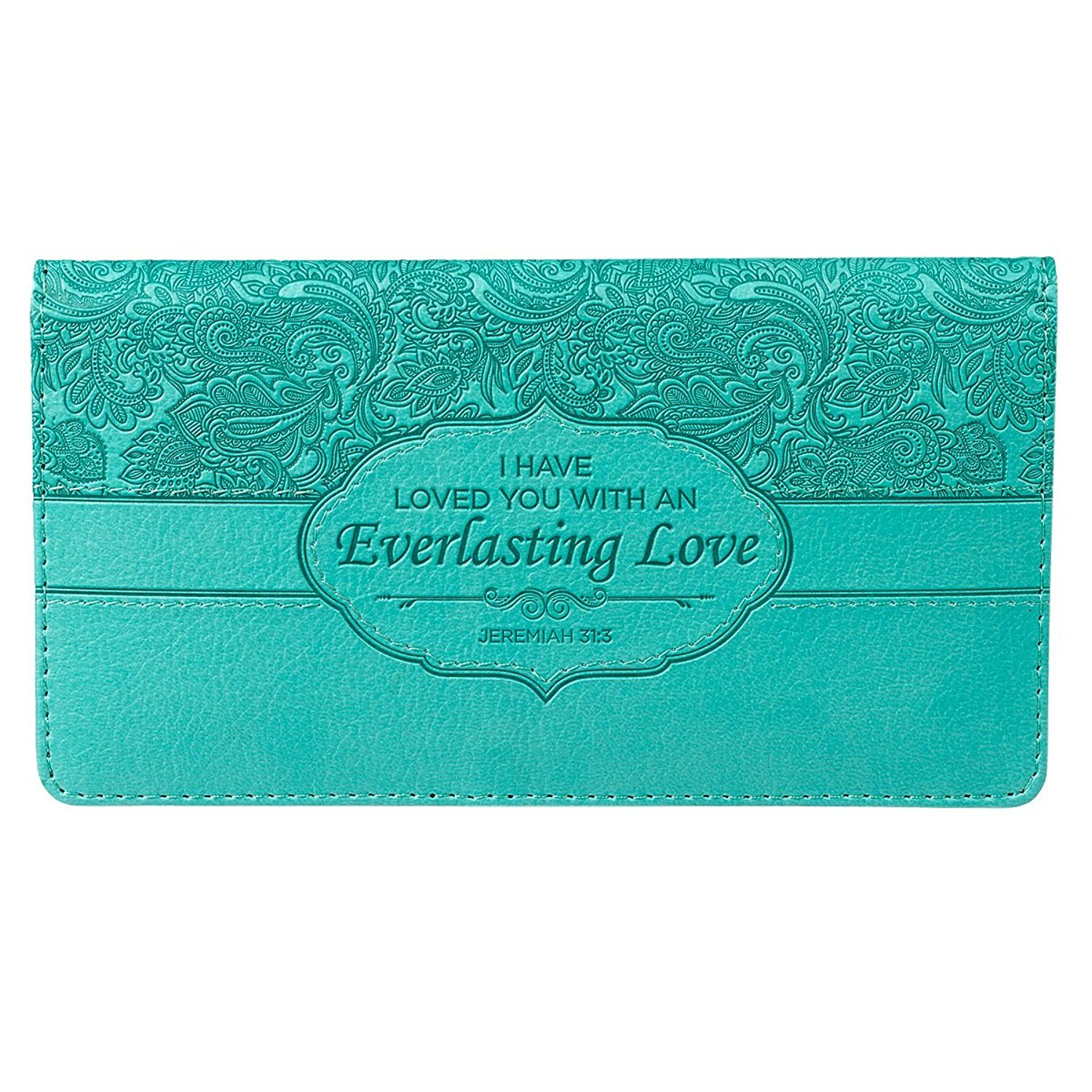 Turquoise Everlasting Love Checkbook Cover Christian Art Gifts CHB038