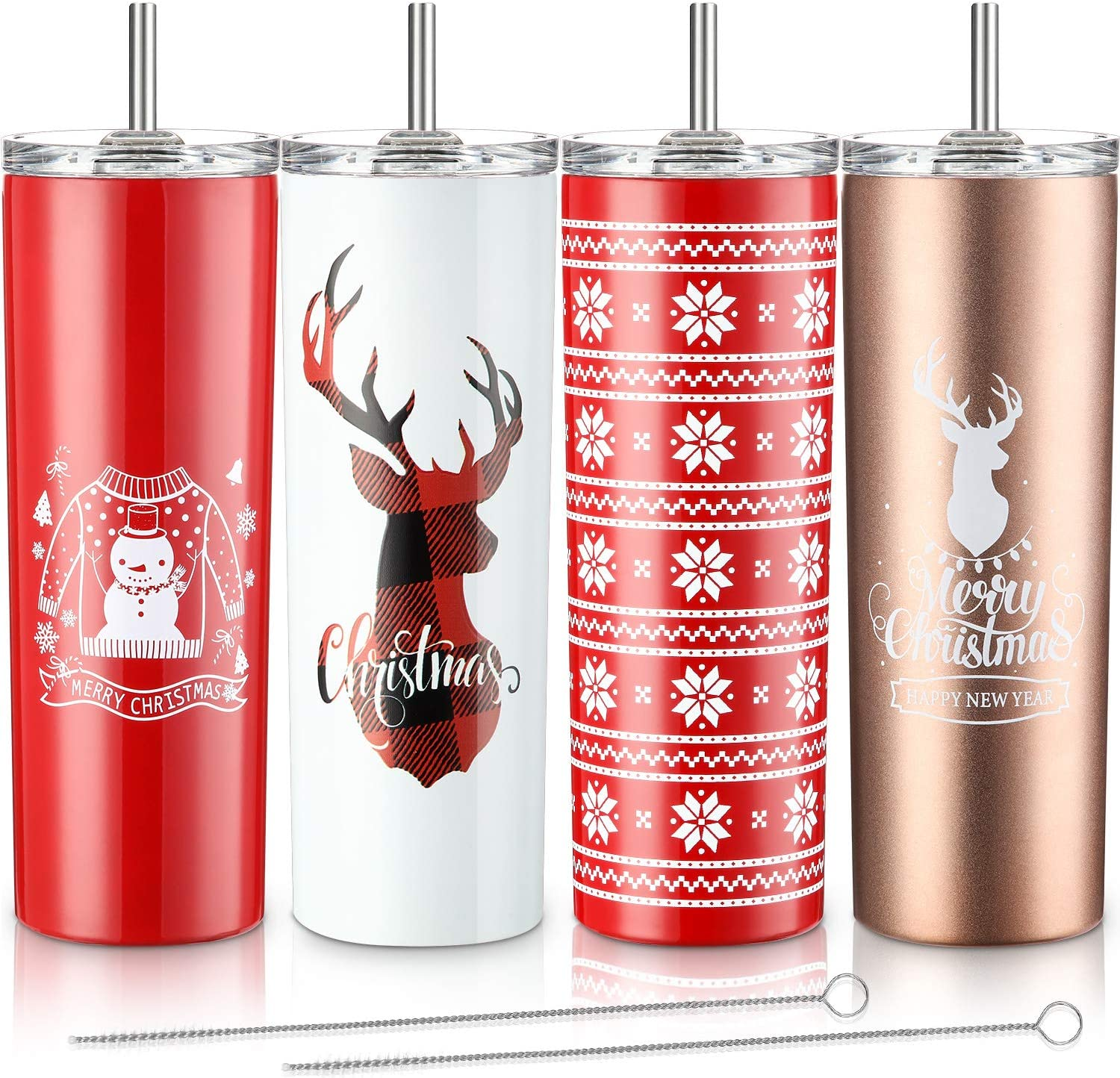 4 Pieces Classic Tumbler Stainless Steel Double-Insulated Water Tumbler Cup with Lid and Straw 20 oz Vacuum Travel Mug Gift with Cleaning Brush, Christmas Style