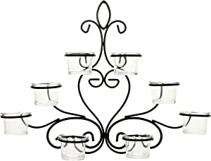 Hosley Scrolled Wall Angel Art Sconce 13.6 Inch Length 8 Votive Farmhouse LED Tealight Cup Holder Includes Glass Cups Mid Century Modern Wall Decor Ideal Gift for Weddings Party Spa Home O8