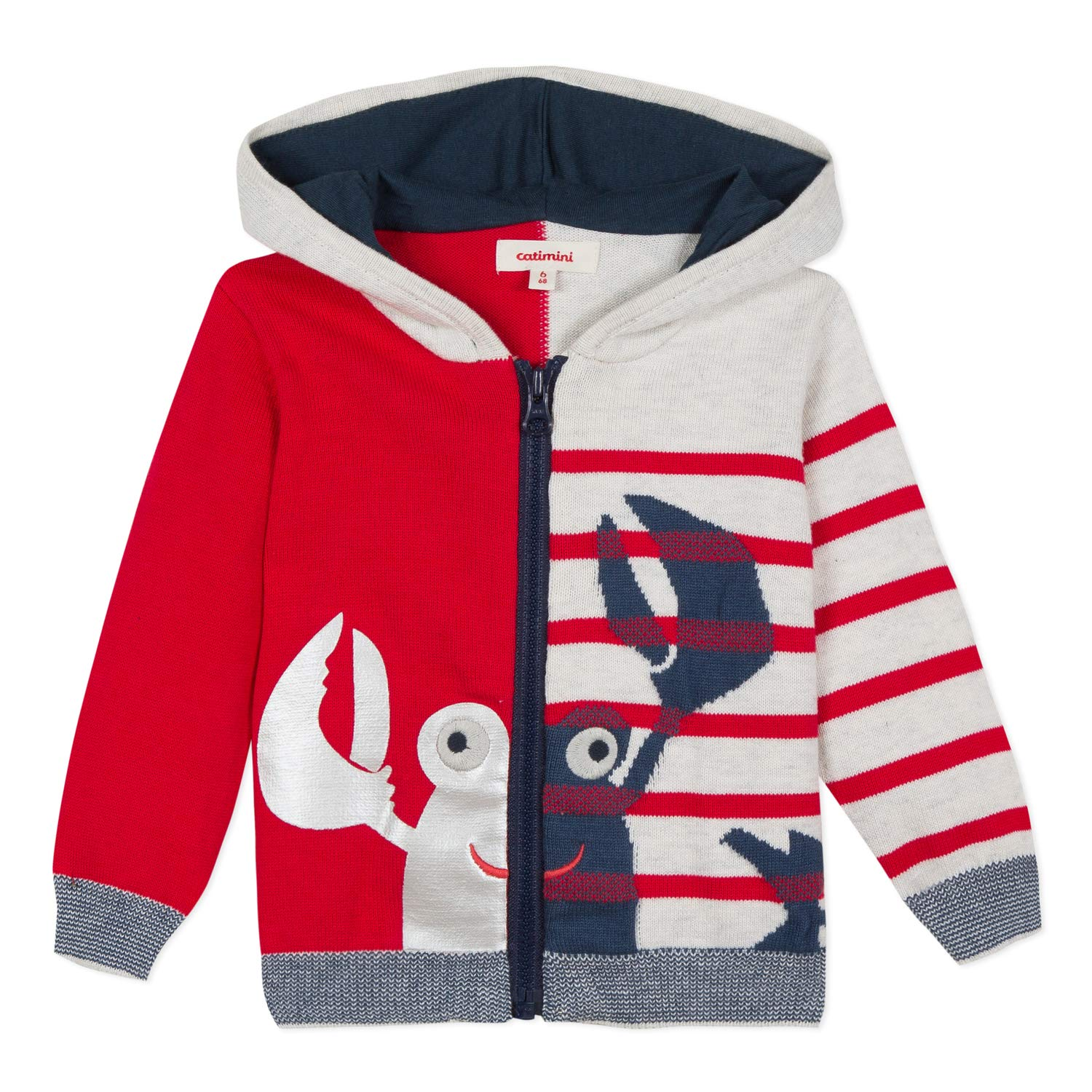 Catimini Baby Boys Hooded Cardigan with Friendly Crab (2) Red