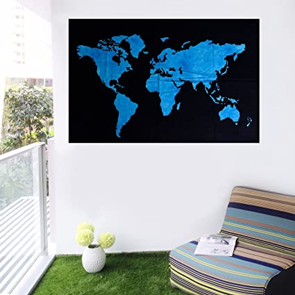 Buy shree avyukta home decor blue world map wall hanging cotton shree avyukta home decor blue world map wall hanging cotton poster home decor room decor wall gumiabroncs