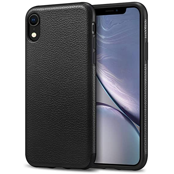 on sale ada42 e4263 Tasikar Compatible with iPhone XR Case Leather Cover Case Slim Fit Premium  PU Leather and TPU Design Compatible iPhone XR (2018) - Black
