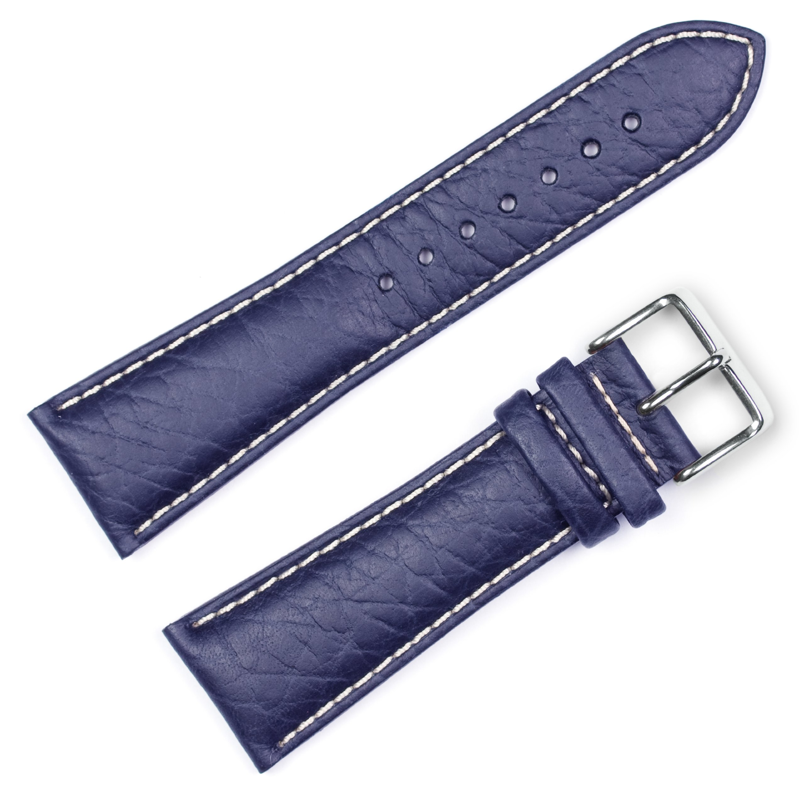 Sport Leather Watchband Navy 16mm Watch band - by deBeer