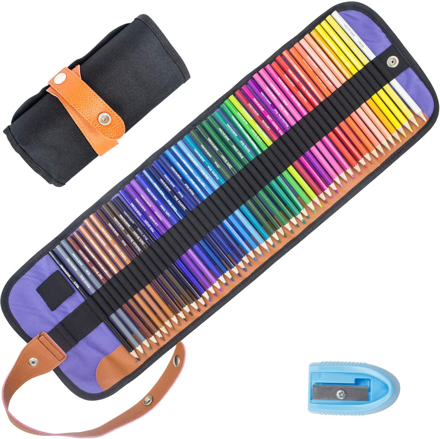 Riyanon Color Pencils Colored Pencil Set of 50 Colors Sketching Drawing Kit with Portable Roll-Up Pouch Canvas Bag Case Included Sharpener Ideal for Adults and Kids (50 Colors)