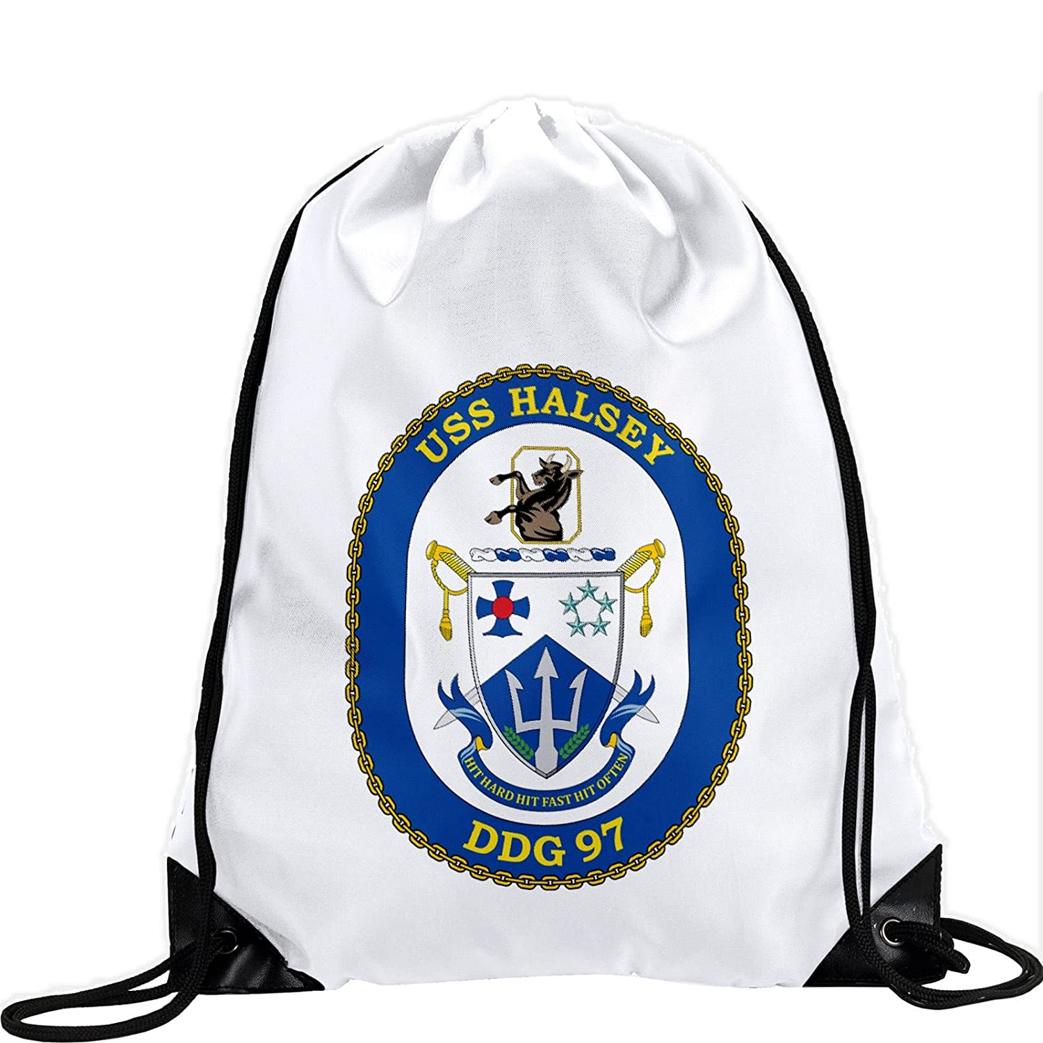 Large Drawstring bag with US海軍USS Halsey ( DDG 97 ) Destroyerエンブレム( Crest ) – Long Lasting鮮やかなイメージ B01BFMQUAA