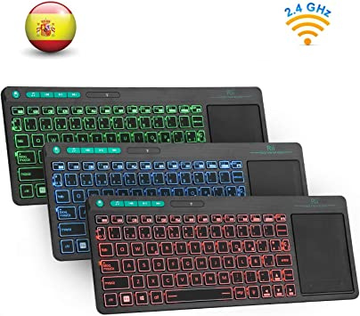 Rii K18 Plus -Teclado inalámbrico touchpad con 3 Colores LED, batería Recargable de Ion de Litio, QWERTY español, Color Negro: Amazon.es: Electrónica