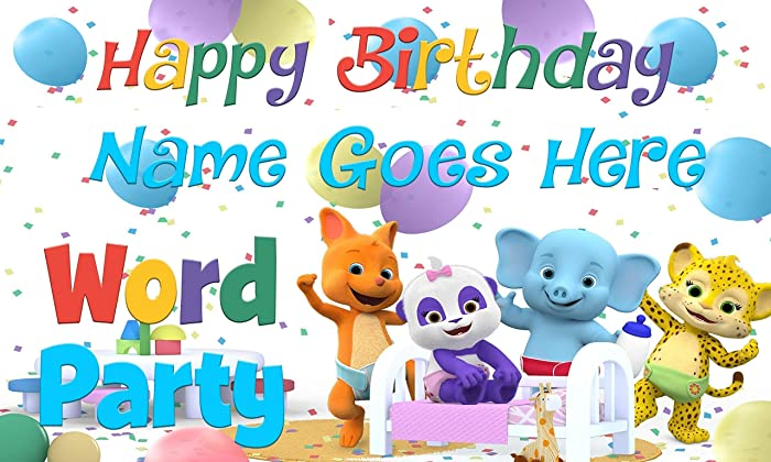 amazon com word party birthday banner personalized custom handmade