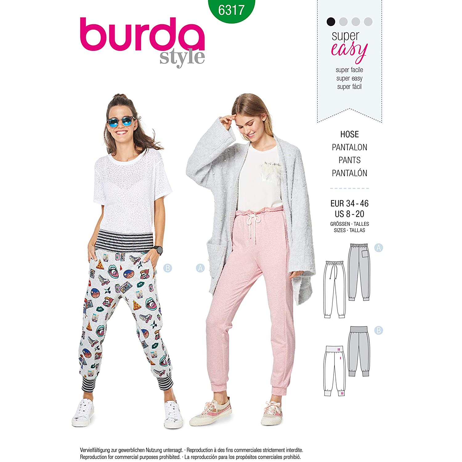 Amazon.com: Burda Style Sewing Pattern 6317 - Misses Jogging Pull On Pant, A(8-10-12-14-16-18-20): Arts, Crafts & Sewing