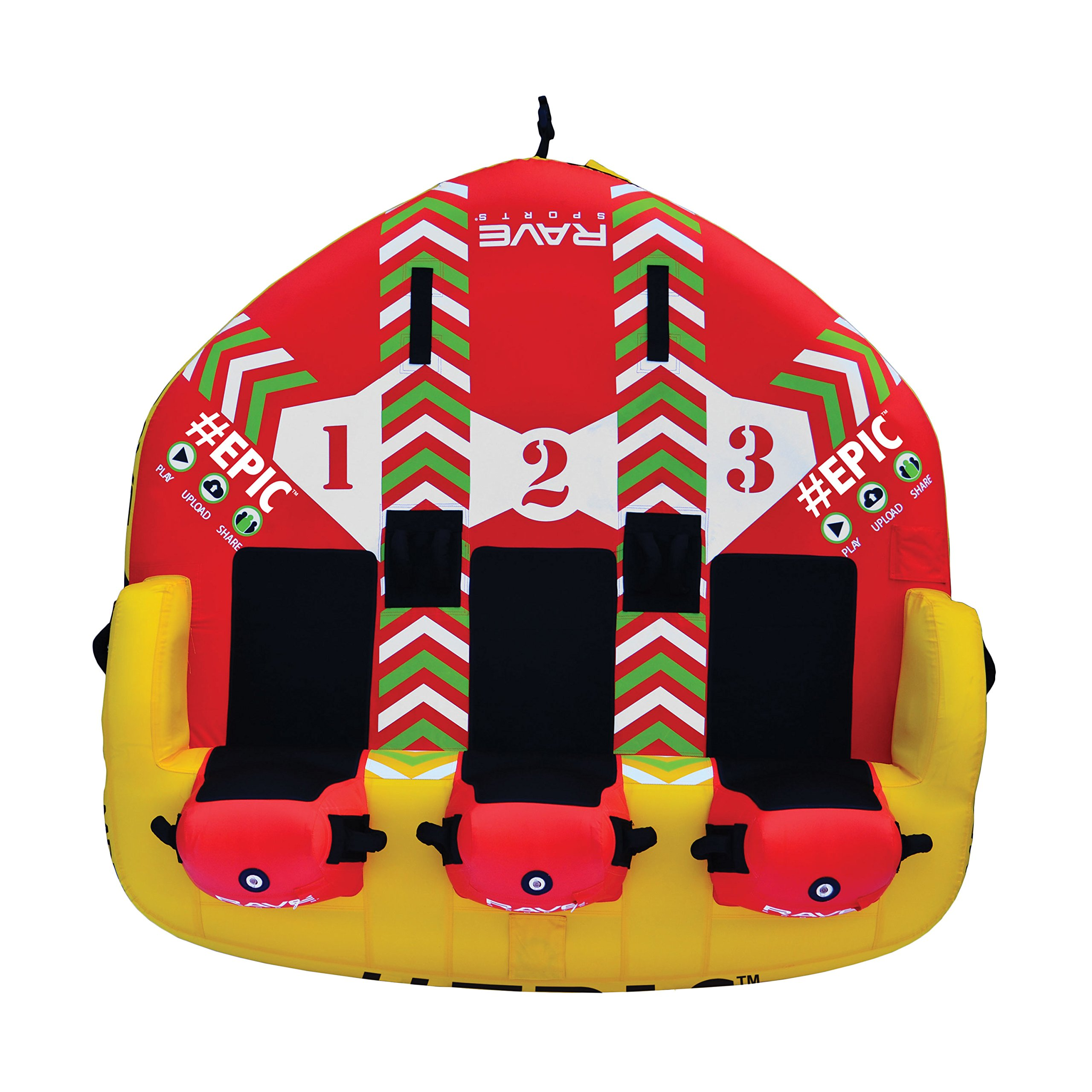 RAVE Sports 02645 #EPIC 3-Rider Towable , red , 78'' x 77'' x 34'' by RAVE Sports