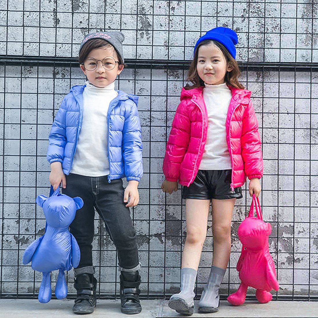 GWELL GWELL Kinder Daunenjacke mit Bärenohren Kapuze & Süß