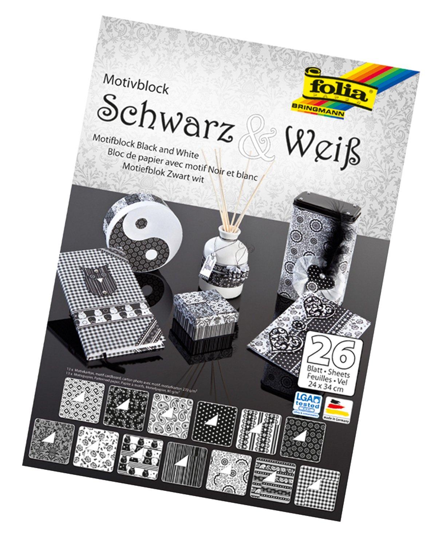 folia 46749 - Motivblock, 24 x 34 cm, 26 Blatt sortiert, schwarz und weiß schwarz und weiß Max Bringmann