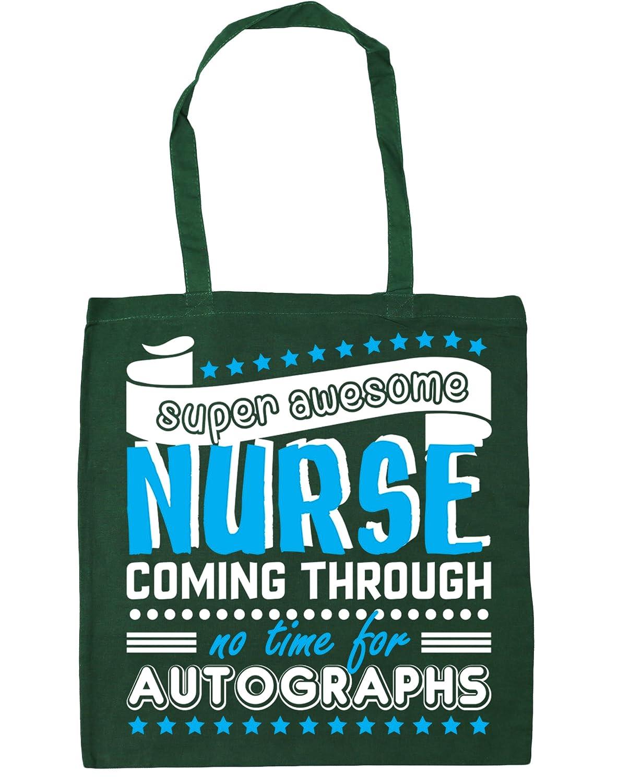 HippoWarehouse Super Awesome Nurse Coming Through No Time For Autographs Tote Shopping Gym Beach Bag 42cm x38cm, 10 litres 21320-TOTE-Black