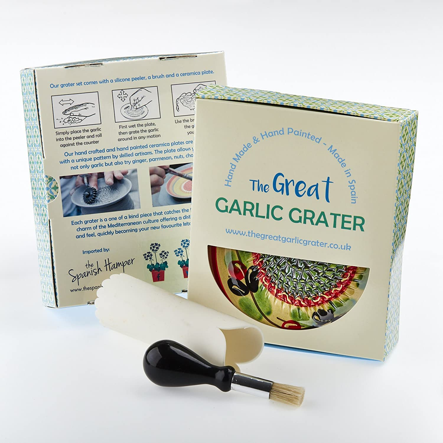 Garlic Grater Plate Set with brush and peeler. Handmade and Hand painted in Cordoba, Spain. Dispatched from the UK. Cream with Red rim, red and green circles. Olive and flowers. 14 RUPI