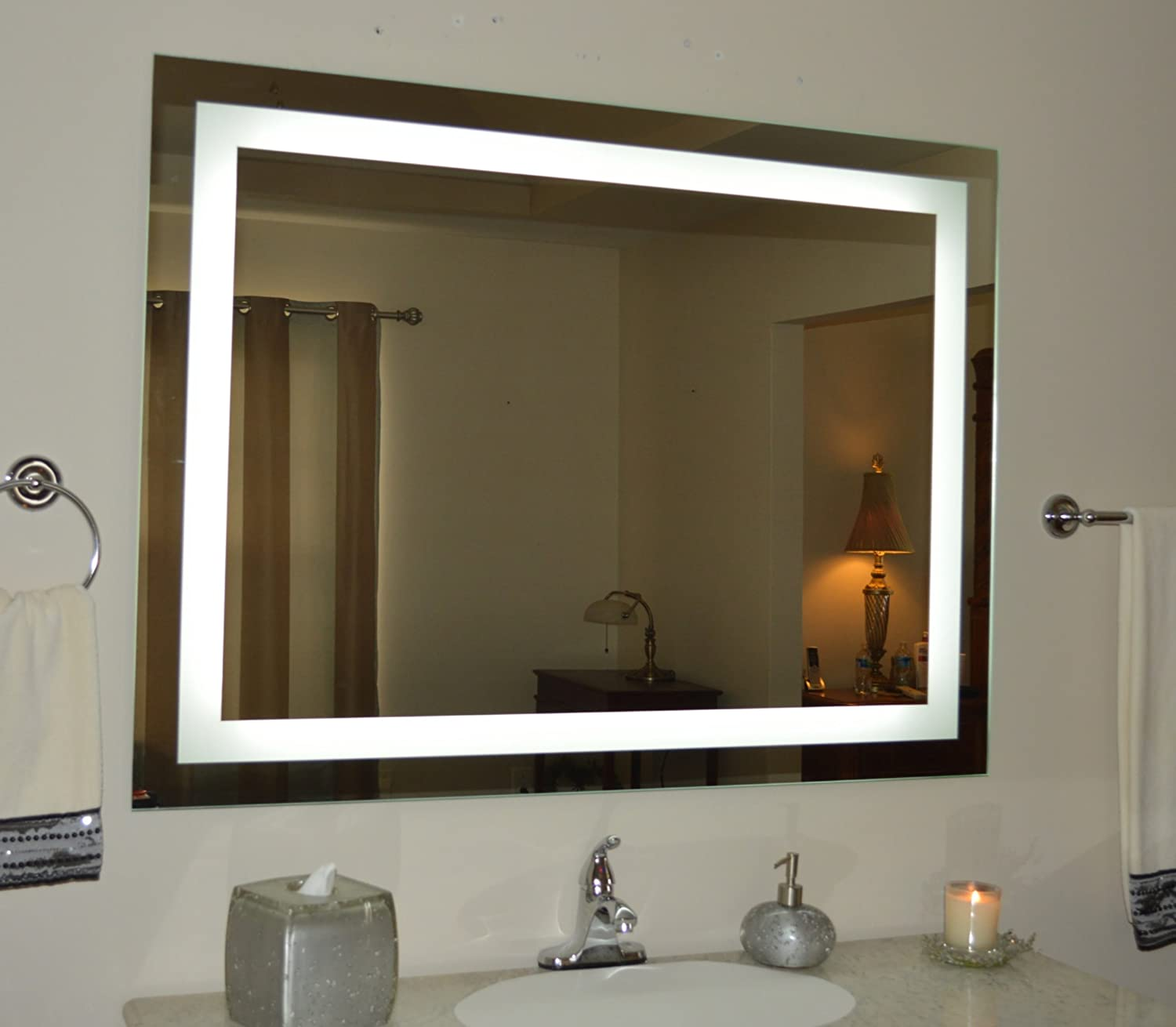 bathroom mirror with lighting. Amazon.com: Wall Mounted Lighted Vanity Mirror LED MAM84836 Commercial Grade 48: Home \u0026 Kitchen Bathroom With Lighting I